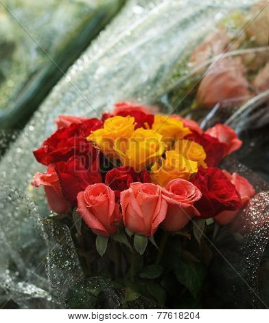 Festive Beautiful Bouquet Of Roses