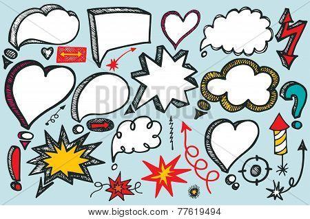 Speech Bubbles,arrow set. Doodle colored vector