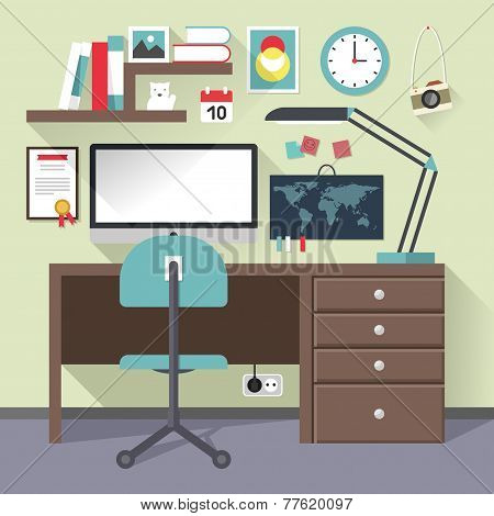Flat Design Vector Illustration Concept Of Modern Home Or Business Work Space