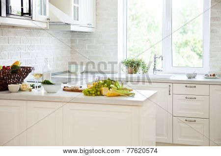Classical White Kitchen With Healthy Food