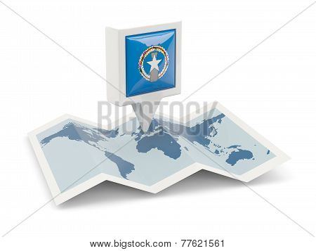 Square Pin With Flag Of Northern Mariana Islands On The Map