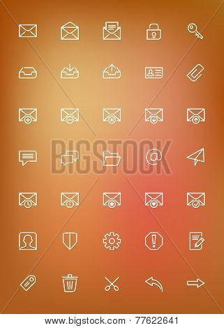 Thin Line Mail Icons Set For Web And Mobile Apps. White Icons On The Blurred Orange Background. Mess