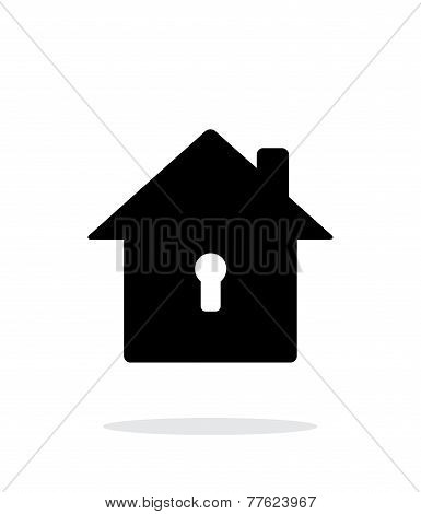 Abstract home with keyhole icon on white background.