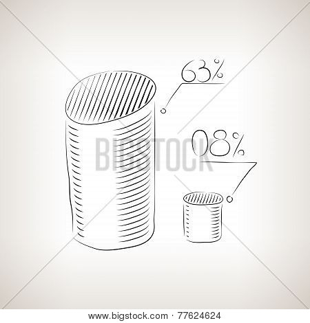 Silhouette chart as cylinders  with percent  , vector illustration