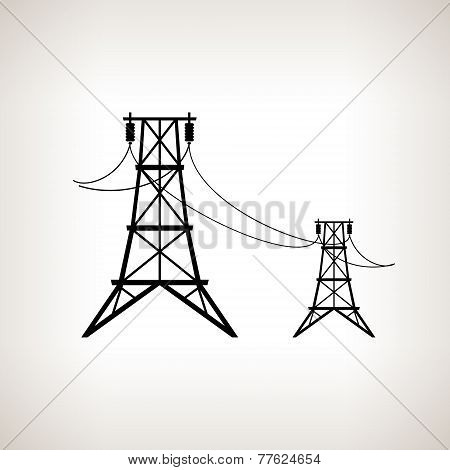 Silhouette high voltage power lines  , vector illustration