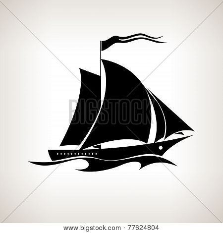 Silhouette sailing vessel on a light background, vector illustration