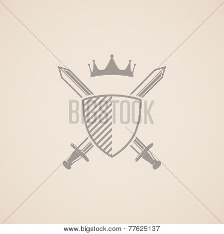 vector illustration with shield, swords and crown.