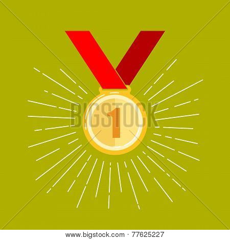 vintage illustration of a golden medal in flat style with long shadow