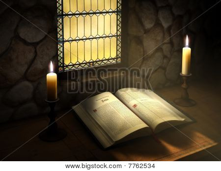 Open Bible In Sunlight