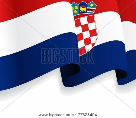 Background with waving Croatian Flag. Vector
