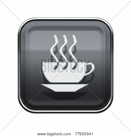 Coffee Cup Icon Glossy Grey, Isolated On White Background
