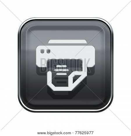 Printer Icon Glossy Grey, Isolated On White Background