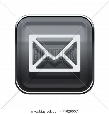 Postal Envelope Icon Glossy Grey, Isolated On White Background