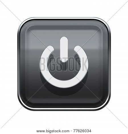 Power Button Icon Glossy Grey, Isolated On White Background
