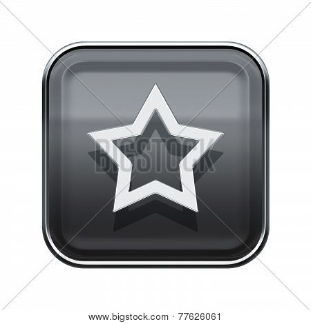 Star Icon Glossy Grey, Isolated On White Background