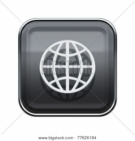 Globe Icon Glossy Grey, Isolated On White Background