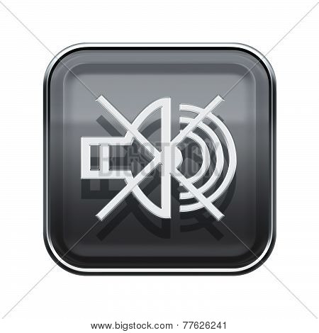 Speaker Off Icon Glossy Grey, Isolated On White Background
