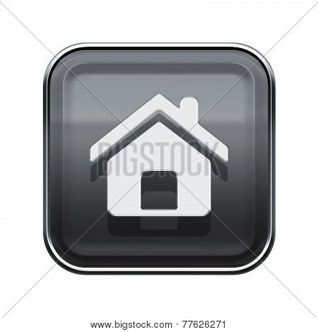 House Icon Glossy Grey, Isolated On White Background