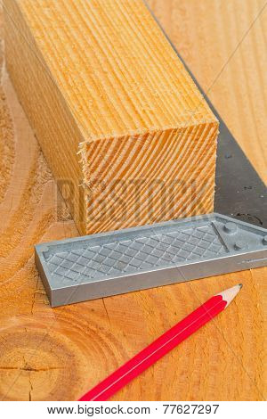 Cut Wood With Try Square And Pencil