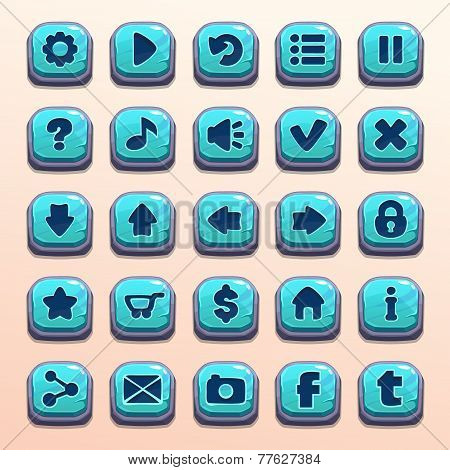 blue stone vector buttons