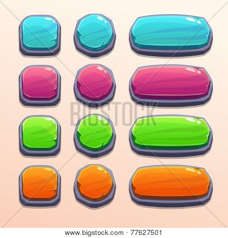 Set of bright funny buttons
