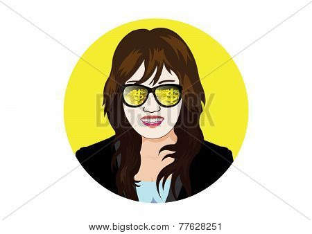 businesswoman with glasses visible gold coin and bullion