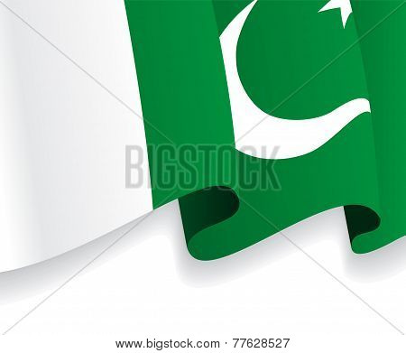 Background with waving Pakistani Flag. Vector