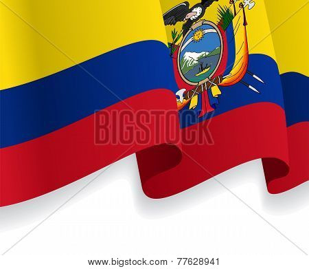 Background with waving Ecuadorian Flag. Vector