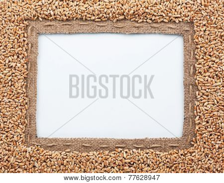 Frame Of Burlap And  Wheat  Beans