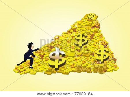 a business people climbing a pile of gold coin and bullion