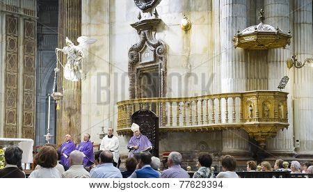 Diocesan Bishop Rafael Zornoza Boy Celebrates The Christian Mass In Cadiz Cathedral. Andalusia, Spai