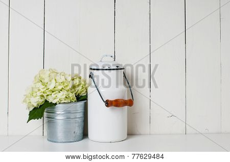 Milk Can And White Hydrangea