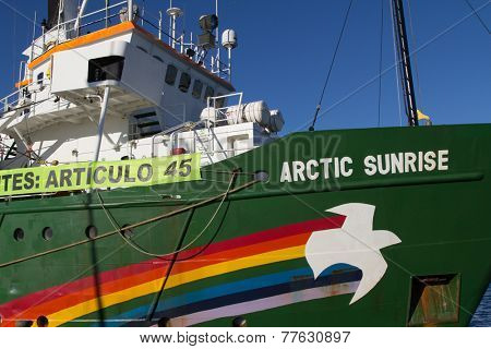 VALENCIA, SPAIN - DECEMBER 5, 2014: Greenpeace's vessel the