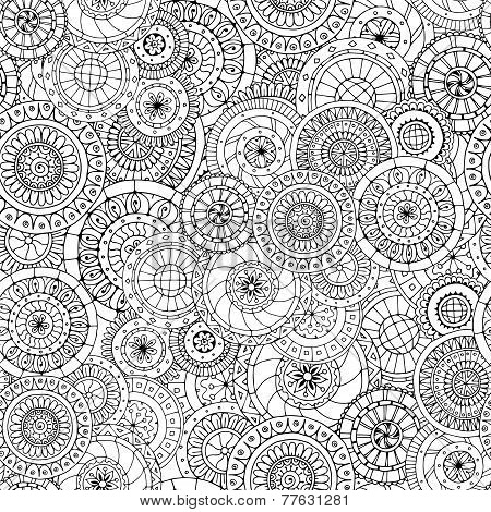 Seamless floral doddle pattern and cucumbers.