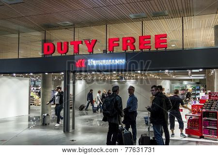 Interior Of Duty Free Shop At Oslo Gardermoen International Airport