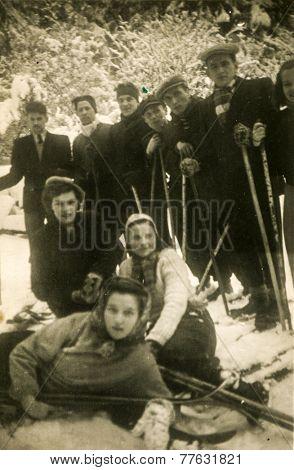JELENIA GORA, POLAND, JANUARY 28, 1952: Vintage photo of group of skiers outdoor