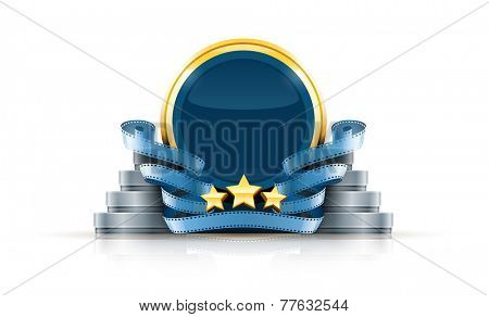 Round logo with stars and cinema films. Eps10 vector illustration. Isolated on white background