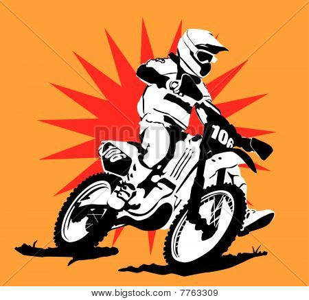 Motocross Illustration  with Star Background : Bigstock
