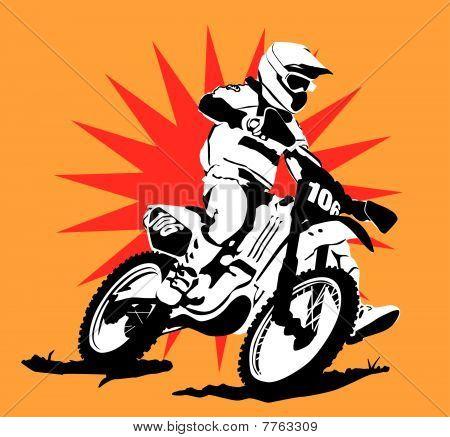 Motocross Illustration  with Star Background : Bigstock