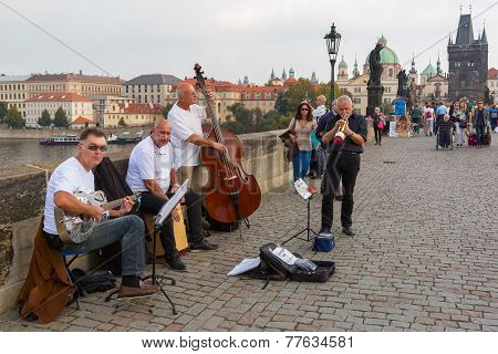 Street Musicians (buskers) In Prague, Czech Republic