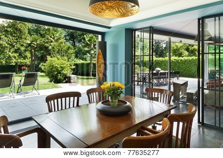 Interior, modern house, dining room, veranda view