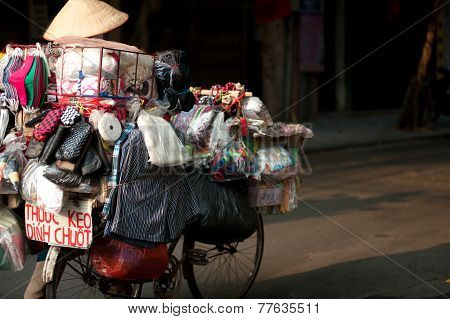 Typical Street Vendor In Hanoi,Vietnam.