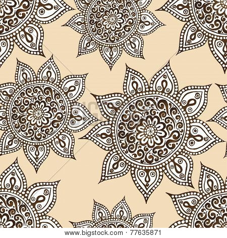 Ethnic seamless pattern with mandala and paisley.