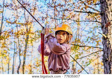 Child on the zip line