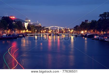 Magere Brug Or Skinny Bridge Of Amsterdam At Night