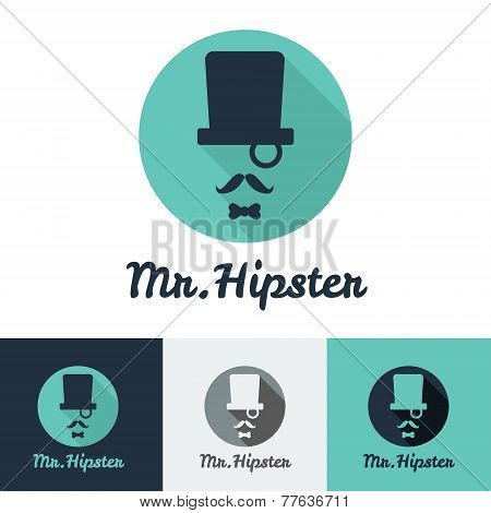 Vector modern flat hipster face logo set for clothes shop or cafe, bar