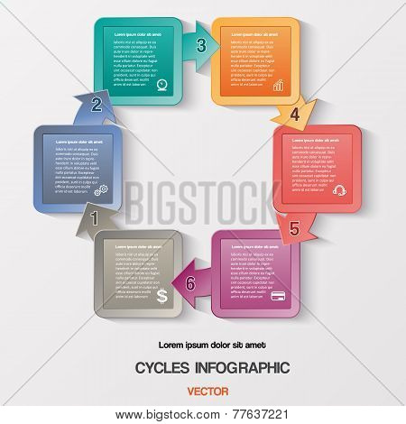 Infographic Cyclic Business Process Or Workflow For Success Project And Other Your Variant. Vector