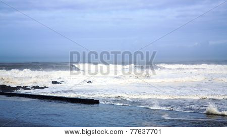 Powerful winter storm on Atlantic ocean