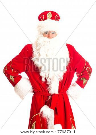 Santa Is Suspecting Someone. Isolated On White.