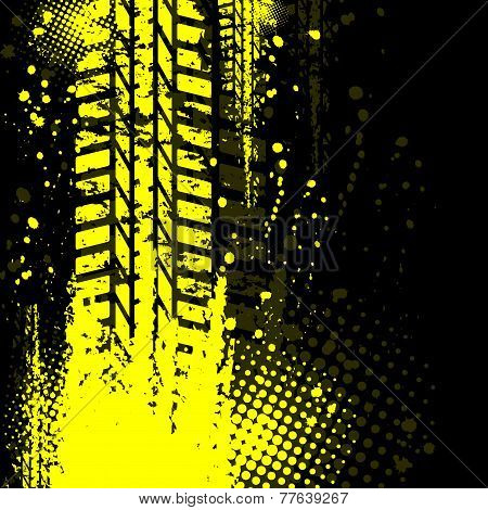 Yellow background tire track